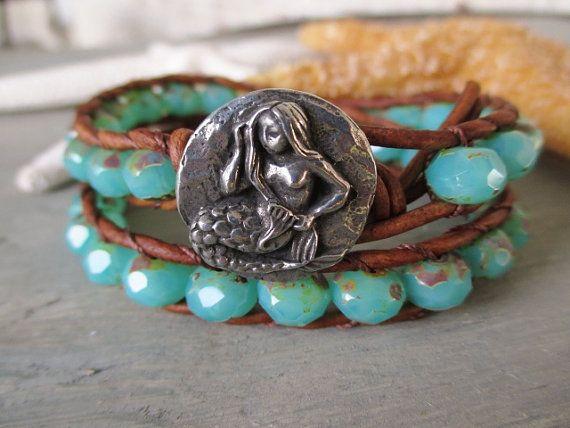 Mermaid leather wrap bracelet - Caribbean Mermaid - distressed leather aqua blue chalcedony seafoam opal green boho surfer beach wrap