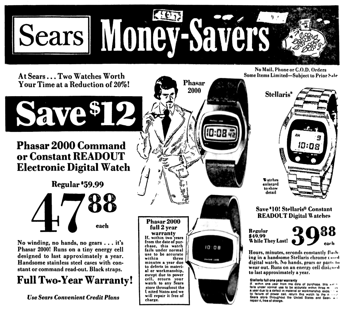 Sears Stellaris and Phasar 2000 Watches - September 1976