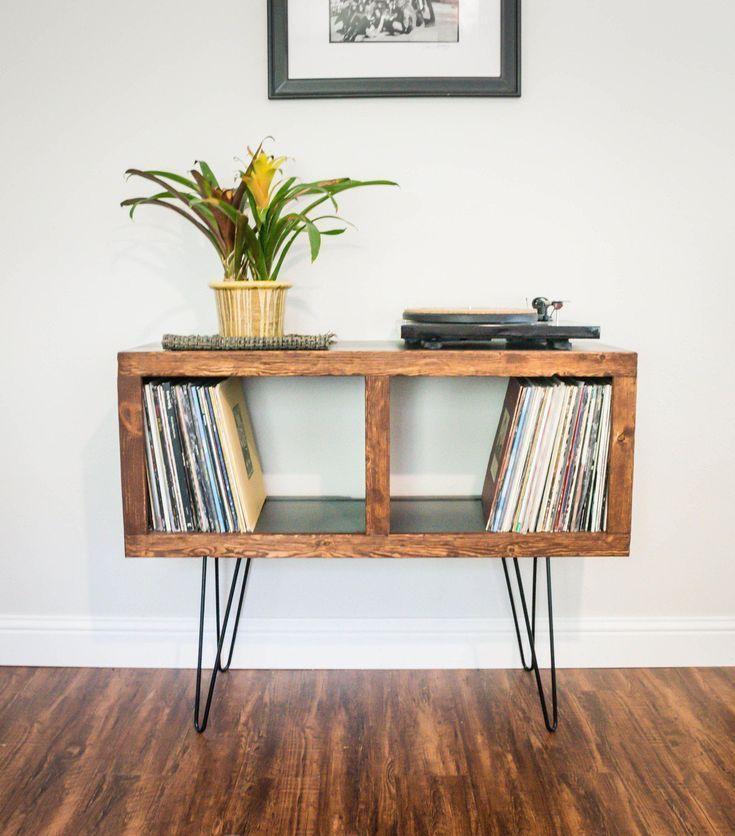 midcentury modern rustic media console  vinyl storage