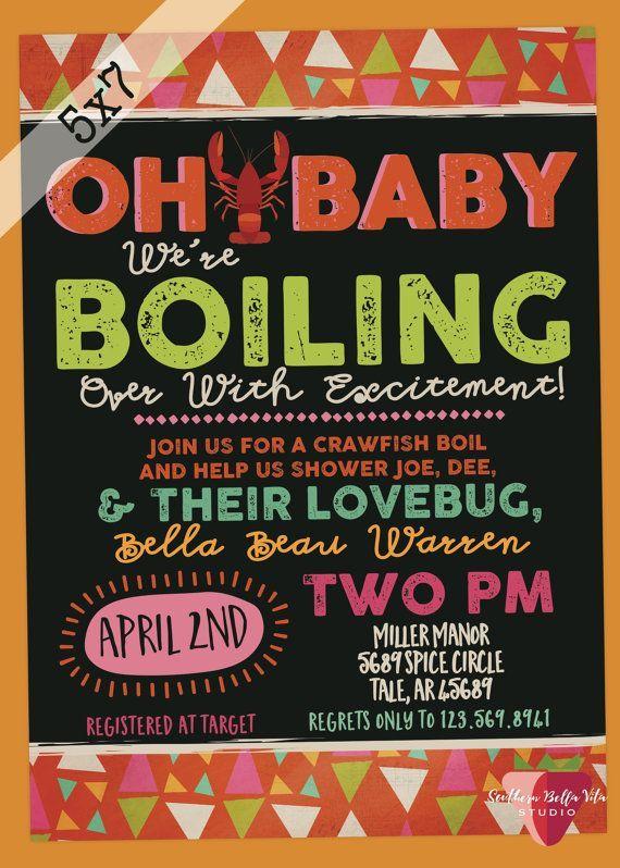 Crawfish Boil Baby Shower Invitaiton Digital 5x7 Jpeg Baby