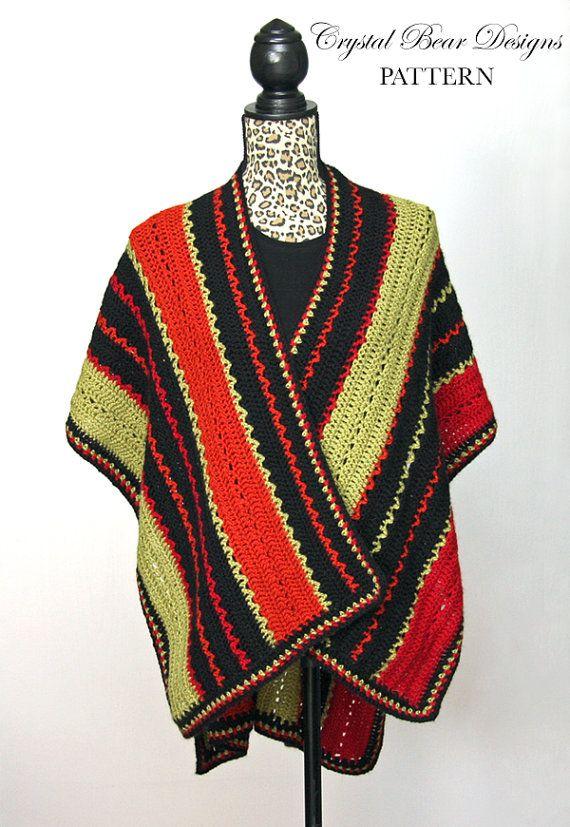 Crochet Ruana Poncho PATTERN / Lightweight Blanket Wrap / Made in ...