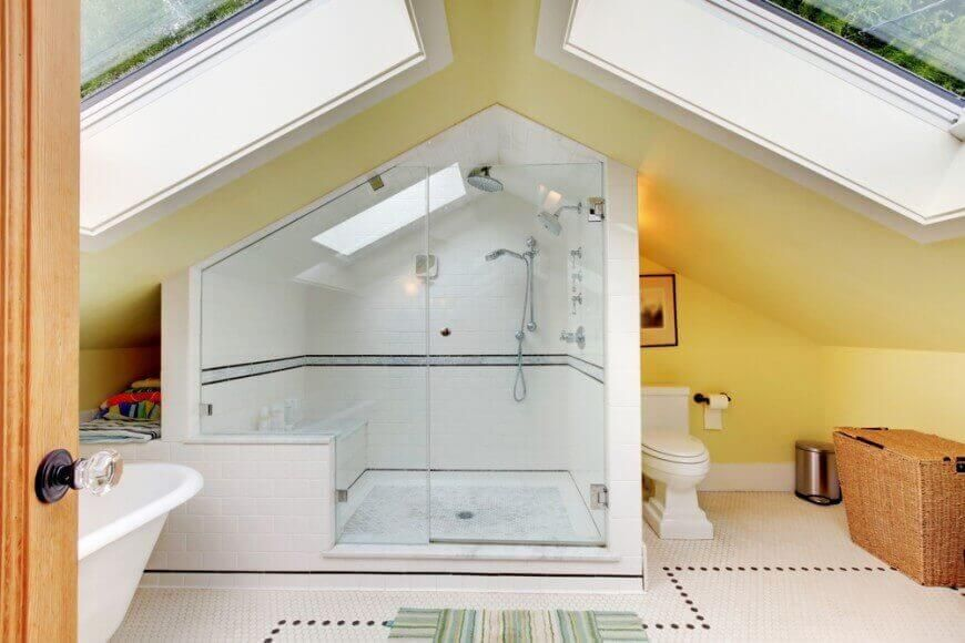 Excellent Ideas For Bathroom Decorating With Skylight Attic Remodel Attic Renovation Attic Rooms