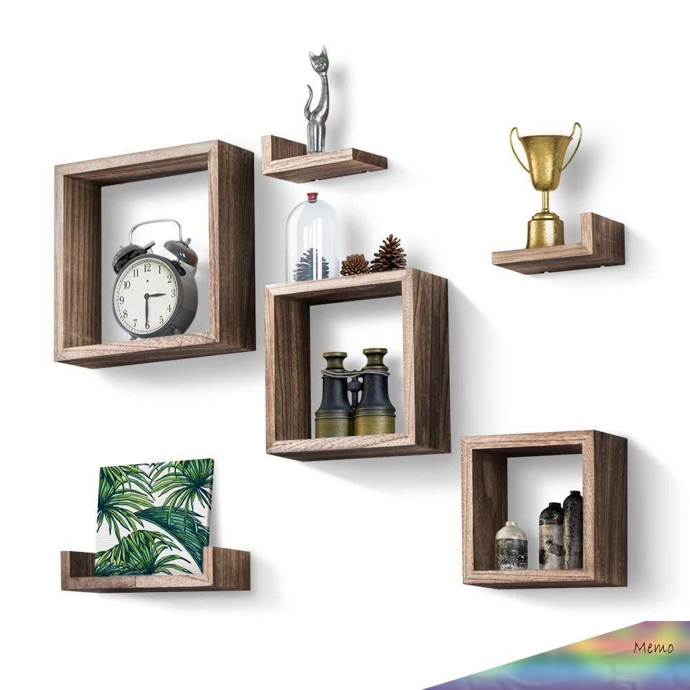 13 10 2018 Floating Shelves Set Of 7 Rustic Wood Wall Shelves With 3 Square Boxes And 4 Small L S In 2020 Wooden Wall Shelves Floating Wall Shelves Floating Shelves