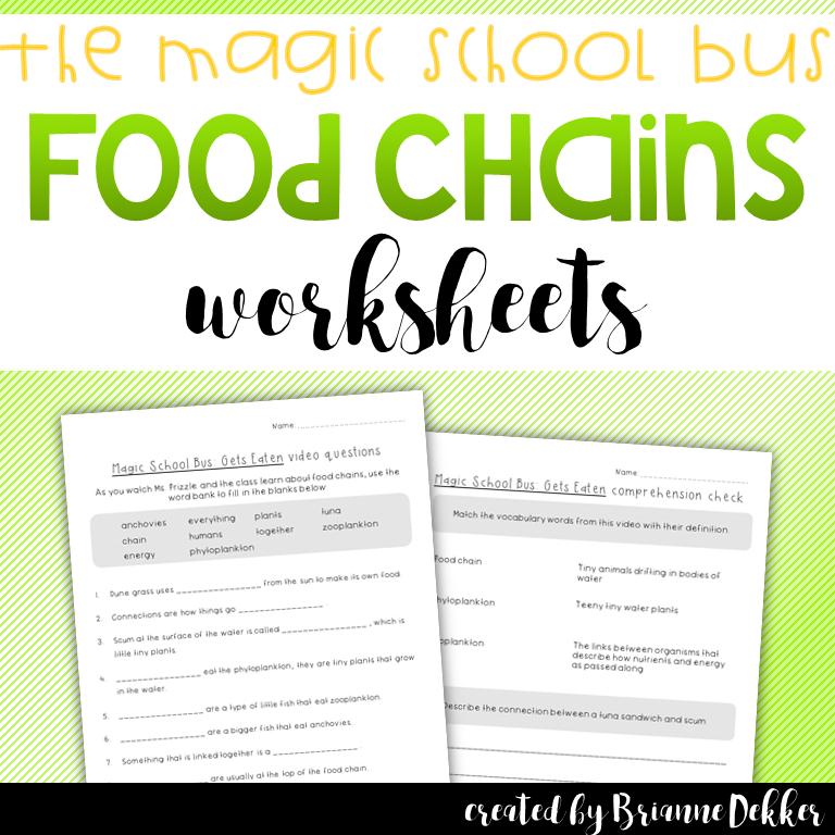 Magic School Bus Gets Eaten Food Chains Worksheets Pinterest