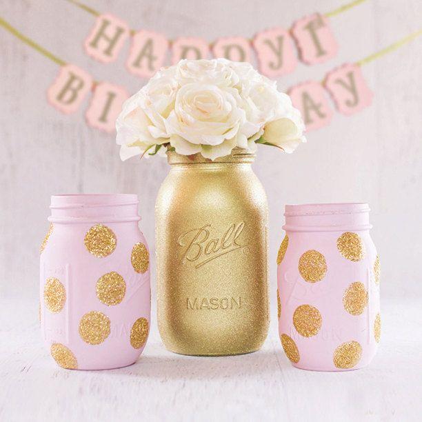 Gold Glitter Mason Jar Set