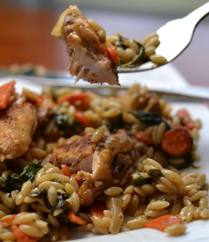 Chicken Thighs With Shallots Spinach Recipe: One Skillet Savory Chicken And Orzo