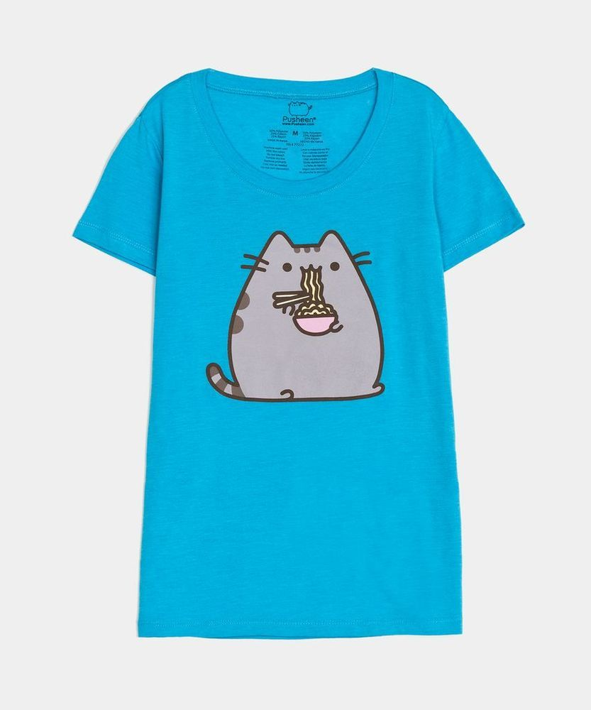 Pusheen The Cat EATING RAMEN NOODLES TShirt Turquoise