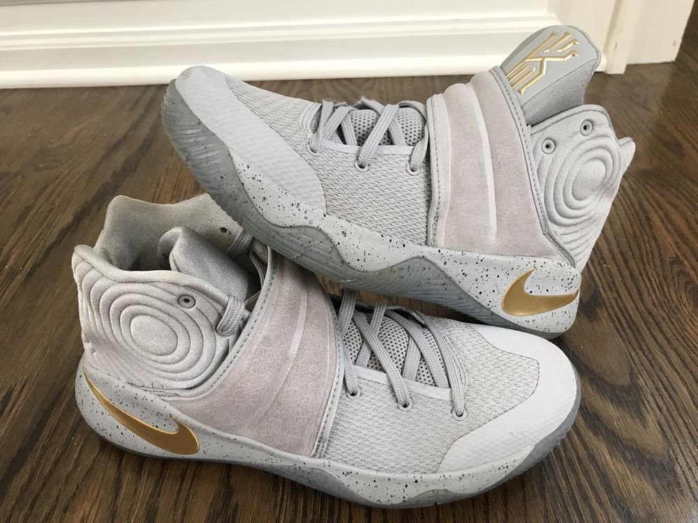 hot sale online 03d88 c9a41 Details about Nike Kyrie 2 Battle Grey Wolf Grey Metallic ...
