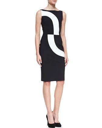 Sleeveless+Contrast+Swirl+Cocktail+Dress,+3770+by+La+Petite+Robe+di+Chiara+Boni+at+Neiman+Marcus. $556