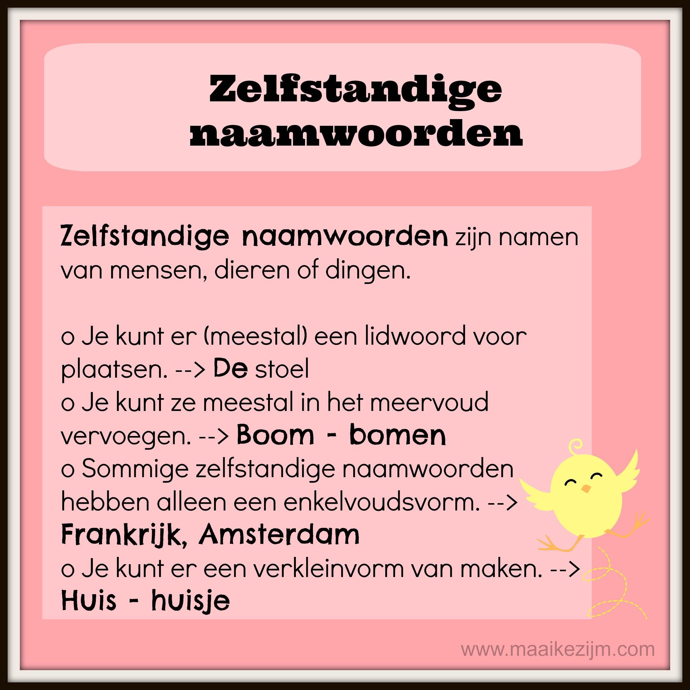 zelfstandige naamwoorden http     maaikezijm com  nederlands  grammatica en spelling     Nederlands