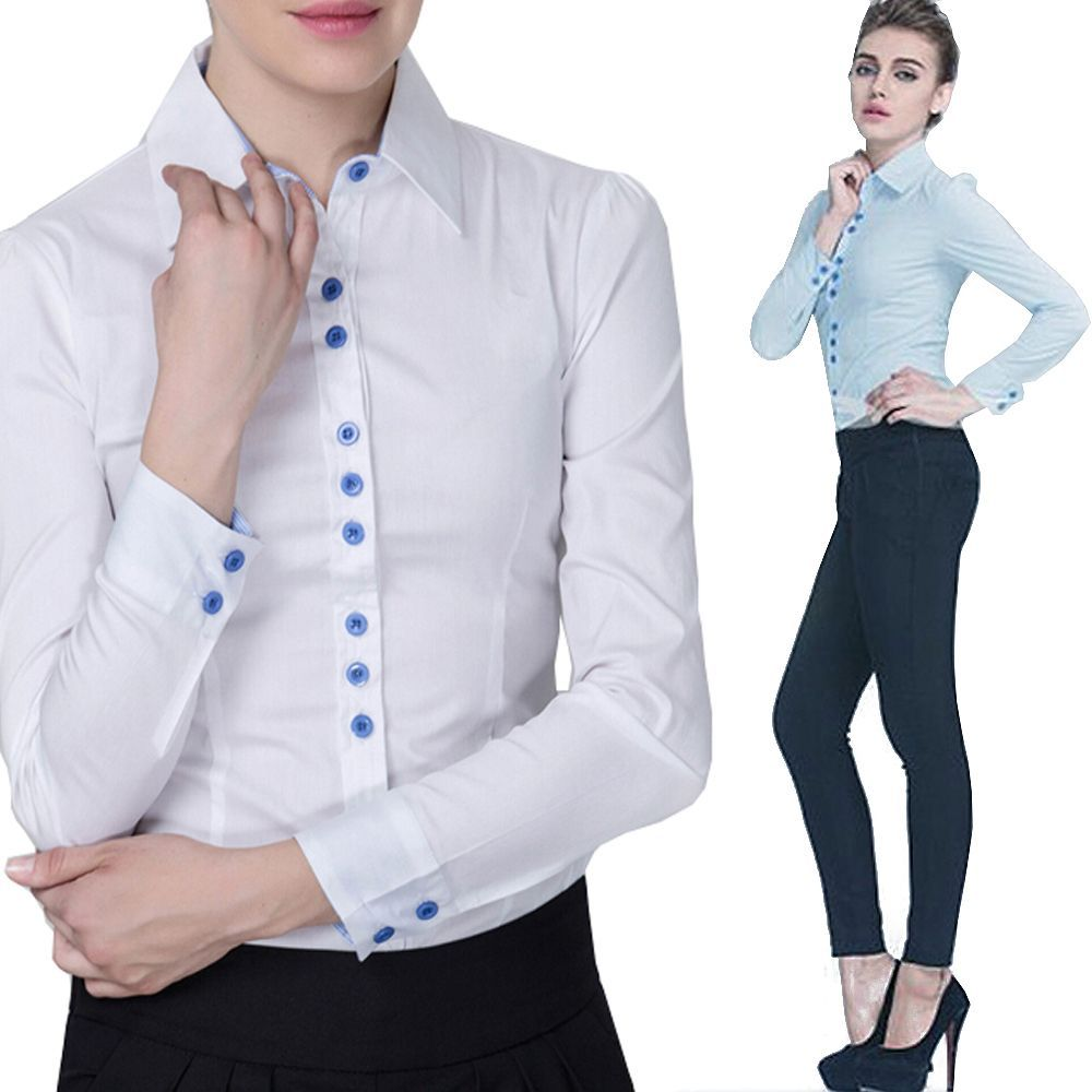 b8adc8523671 Classics Ladies Girls Work Office School Formal Fitted Bodysuit Blouse Shirt