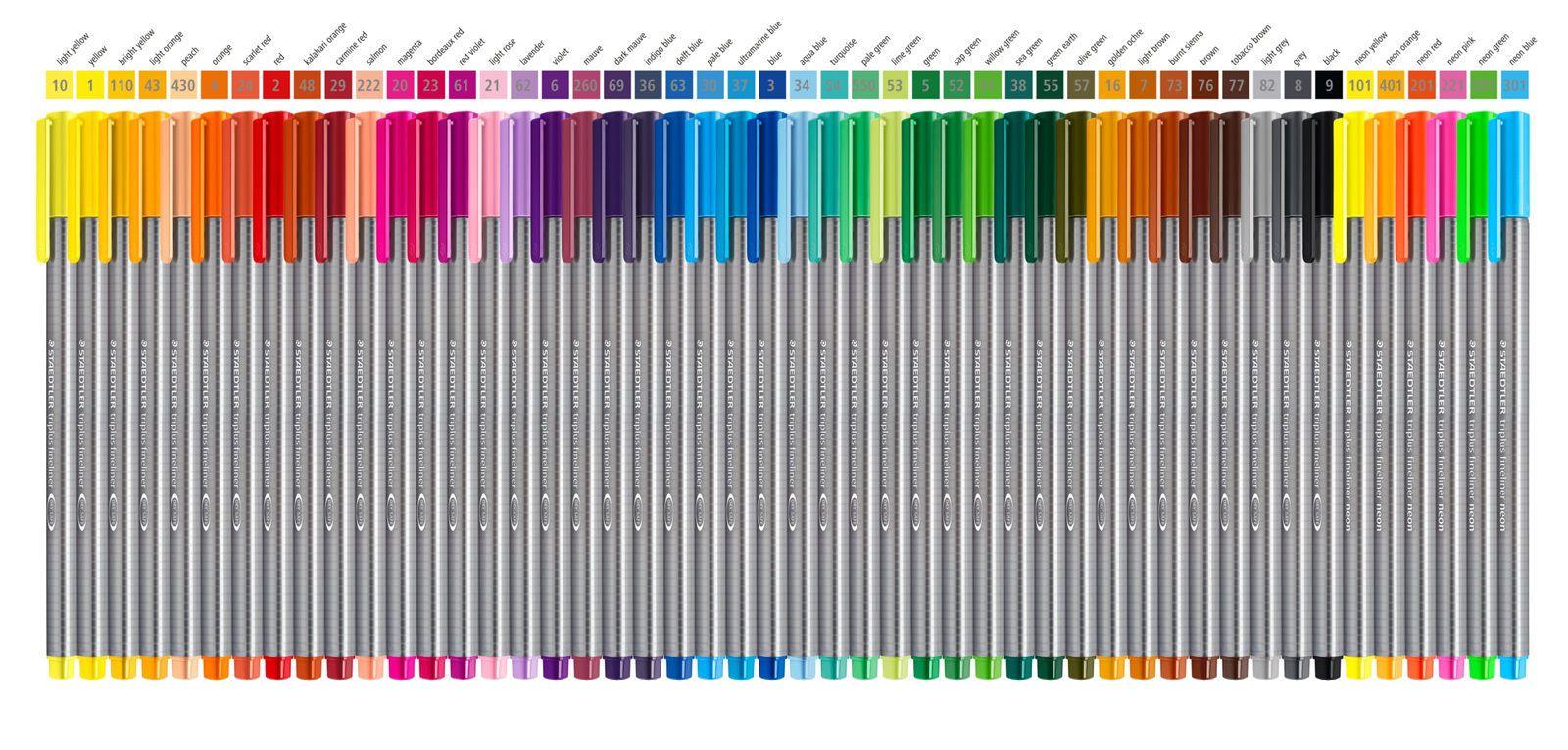Staedtler Triplus Fineliner 48 Color Chart Staedtler Triplus