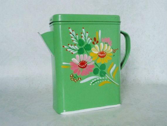 Vintage Ransburg Green Tole Painted Flower Tin Mid