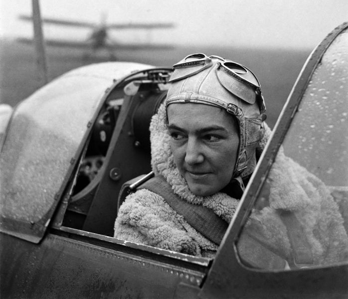 Anna Leska, Air Transport Auxilliary, Polish pilot flying a spitfire, White Waltham, Berkshire, England 1942 by Lee Miller (4327-45)