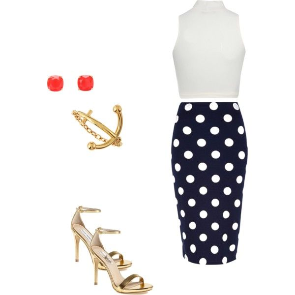 navy, polka dot and gold outfit #fashion