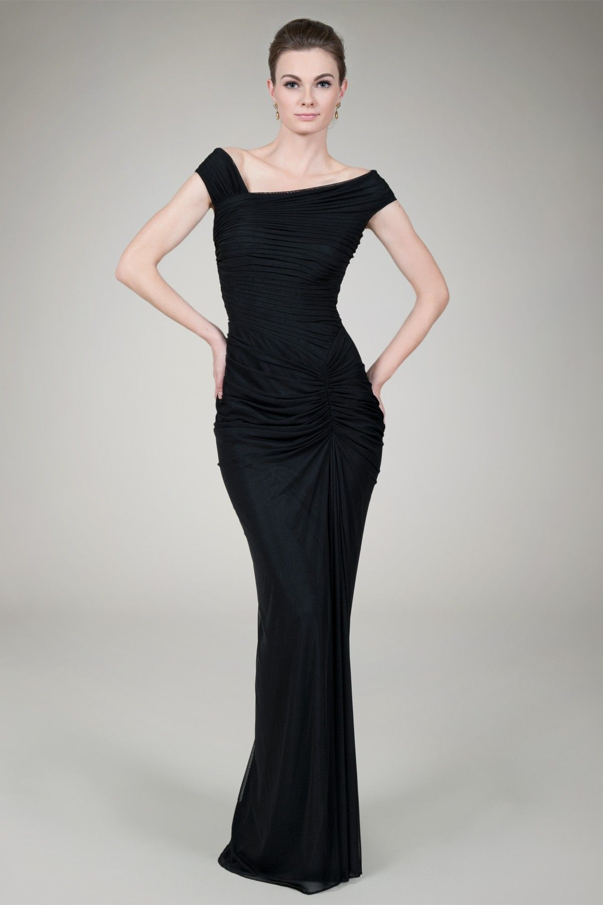 Tadashi Shoji Asymmetrical Ruched Gown In Black Wore This To My Son S Military Ball Very Affordable Gowns Vestido Maravilloso Vestidos De Fiesta Moda [ 1800 x 1200 Pixel ]