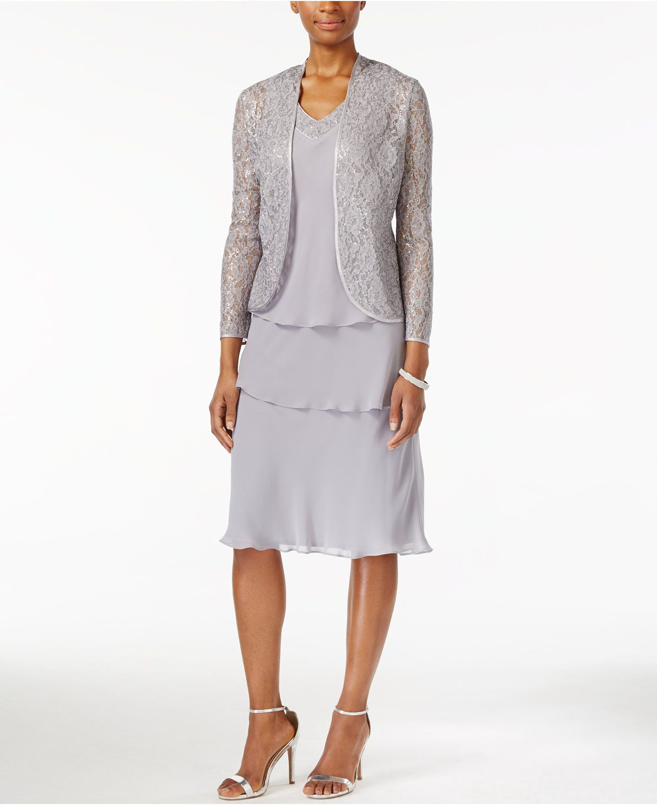 SL Fashions Tiered Dress and Lace Jacket - Dresses - Women - Macy's