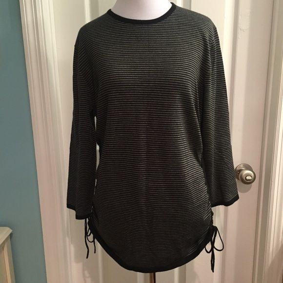 Banana Republic black and grey sweater XL 100% merino wool. Extremely soft. Side ruching with ties. 3/4 length sleeves. Banana Republic Sweaters Crew & Scoop Necks