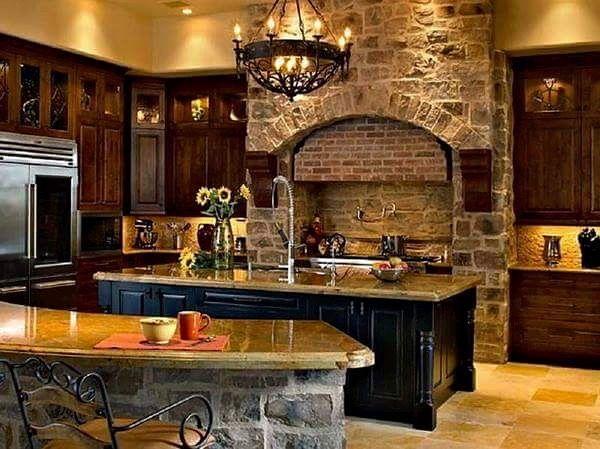 Cocina de madera con piedra y marmol cocinas pinterest for Piedra marmol para cocina