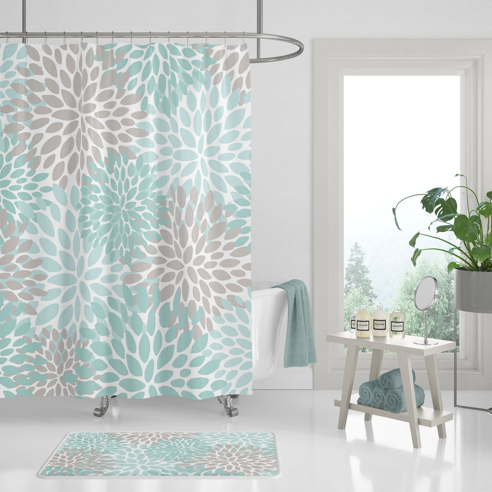 Floral Shower Curtain Teal Aqua Gray White | Etsy in 2020 ...