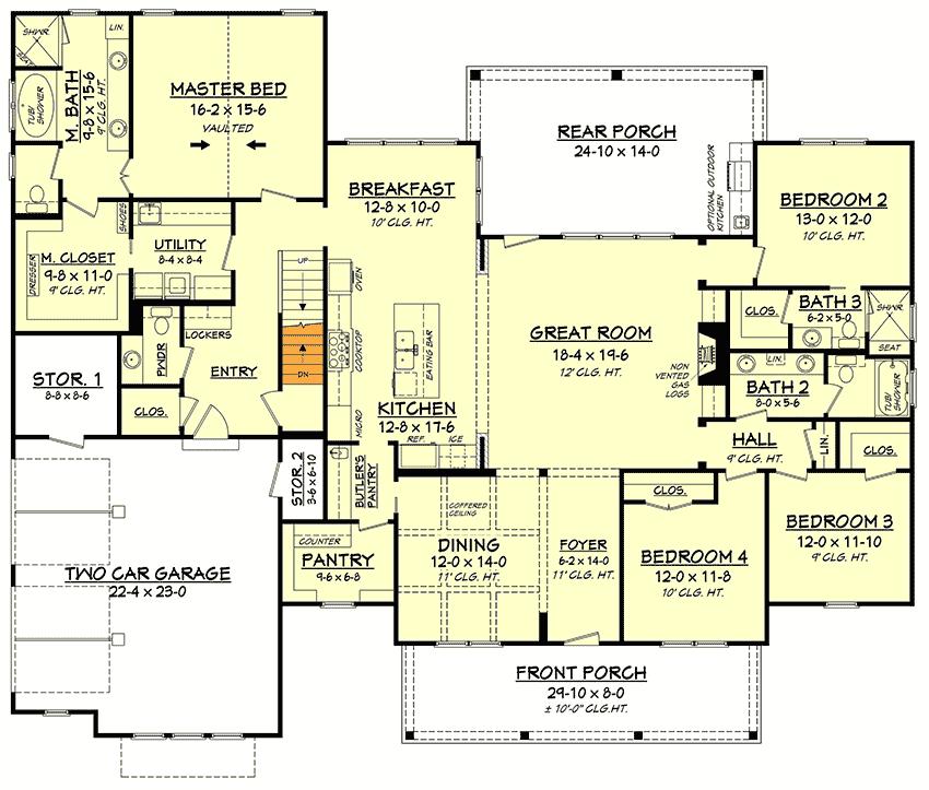 Plan 51773HZ: 4-Bed Modern Farmhouse With Bonus Over