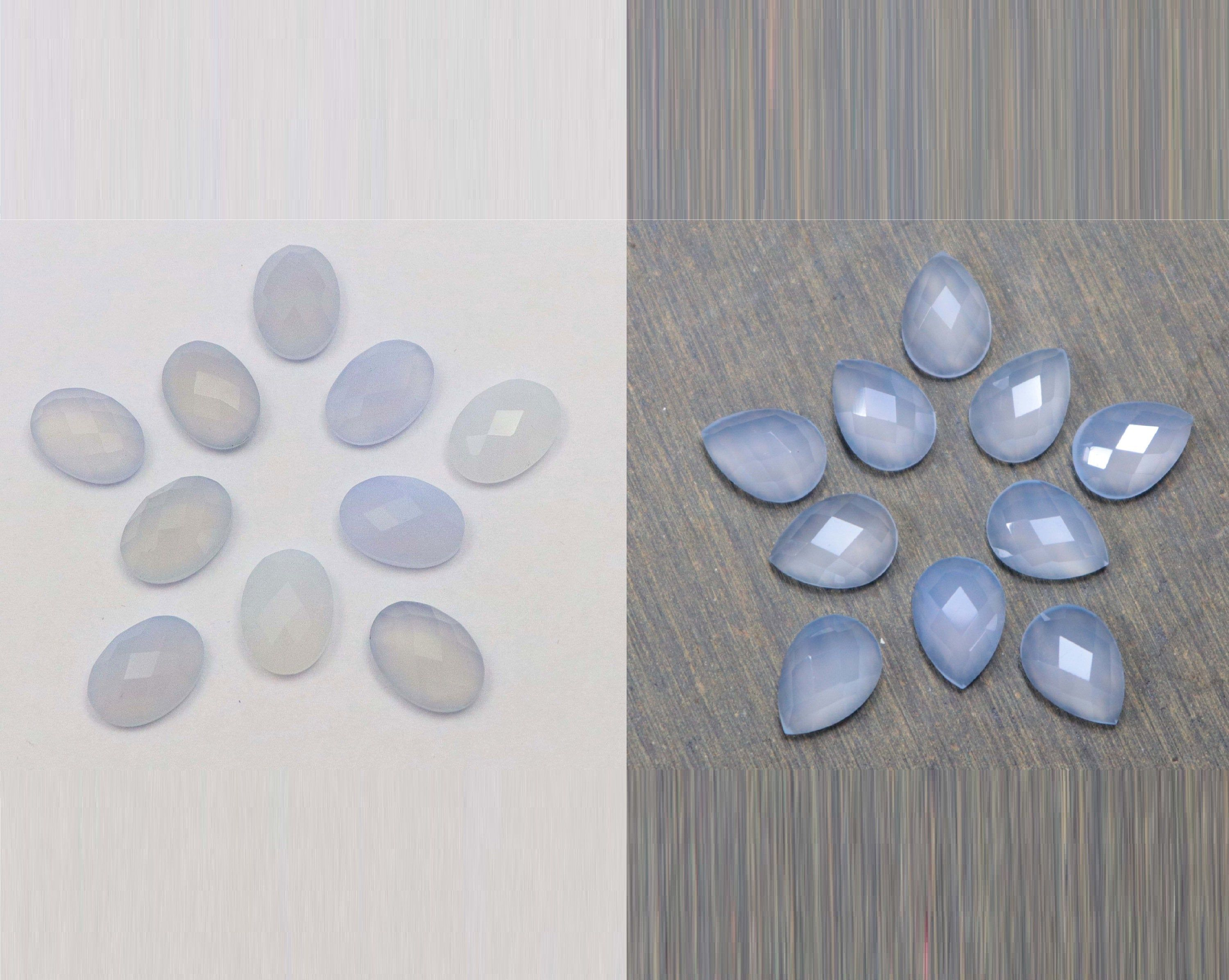 6 mm To 20 mm Gray Chalcedony Round Wholesale Lot Rose Cut Flat Bottom Jewelry Making Loose Gemstones Natural Gray Chalcy One Side Checker