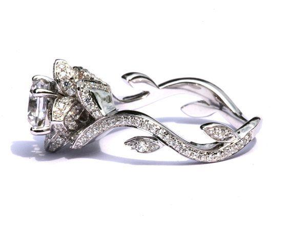 flower rose lotus diamond engagement or right hand ring setting 103 carat 14k white gold fl07 - Flower Wedding Rings