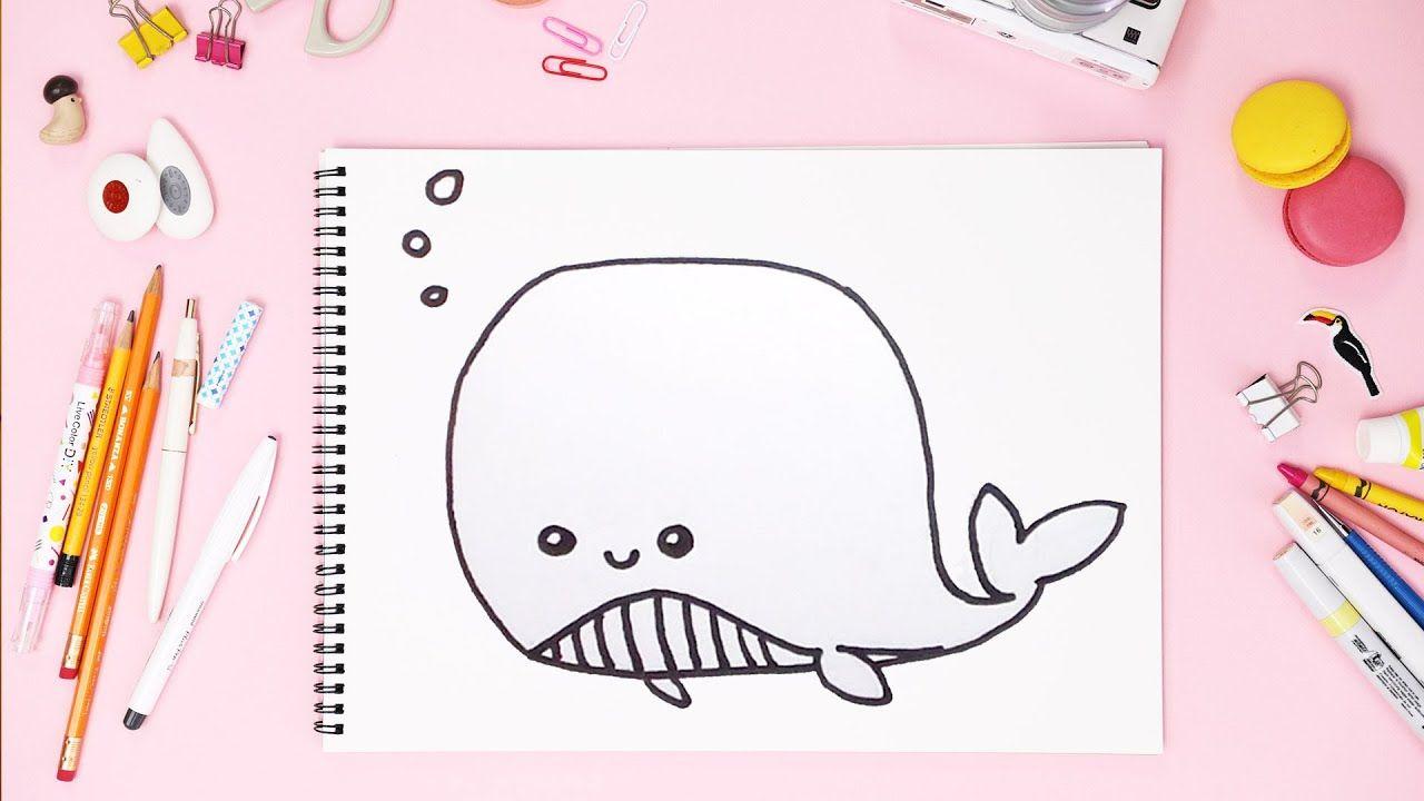 رسم حوت لطيف تعلم رسم حوت