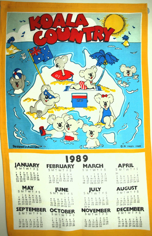 Koala Country Calendar 1989 Tea Towel Vintage Retro 80s Funky
