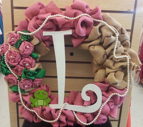 Decorative Burlap Sorority Wreath Alpha Kappa Alpha by TeamSeams, $30.00