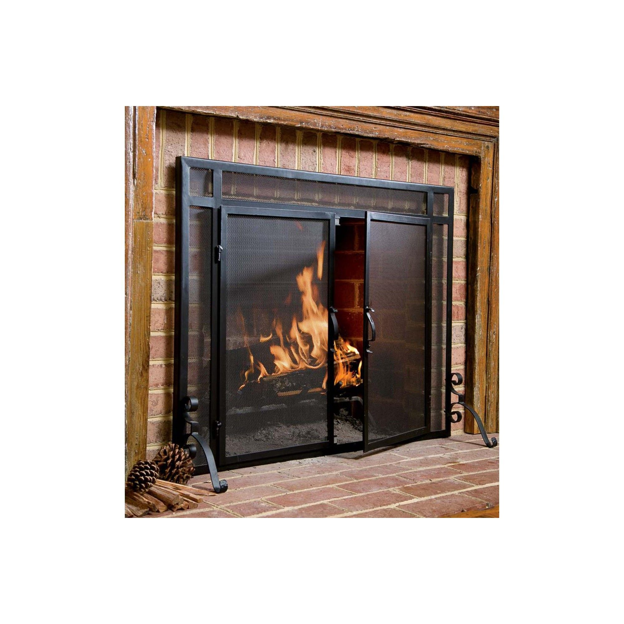 Flat Guard Fire Screens With Doors In Solid Steel 44 W X 33 H