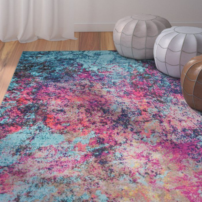 Taina Abstract Pink Area Rug In 2020 Pink And Blue Rug Bright Rugs Pink Area Rug