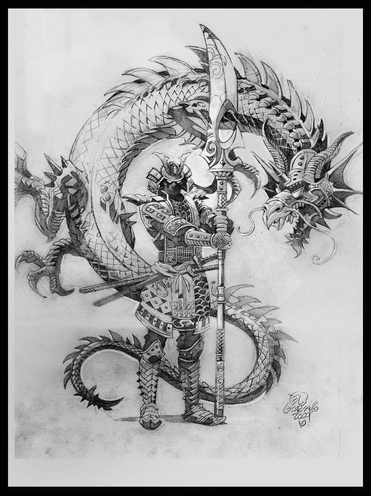 4 Samurai Fighting Dragon Tattoo Meaningtattoo Themes Idea