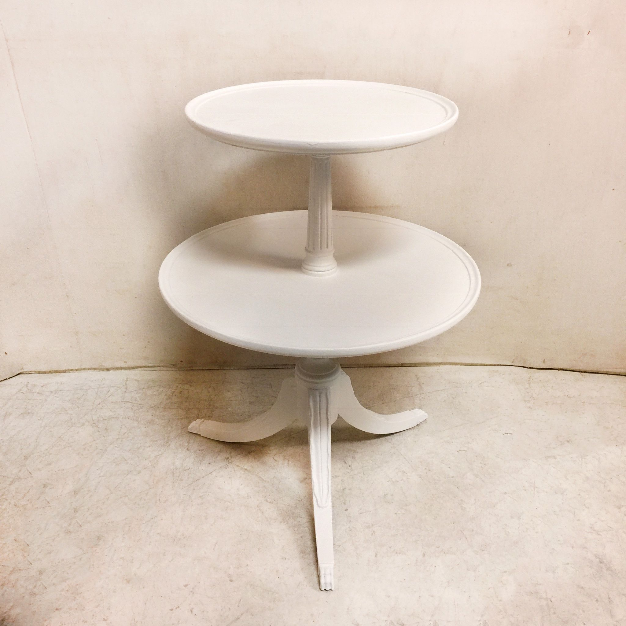 New in store! Vintage Round Whi...  #greystonetreasures #buyanoriginal  http://greystonefinefurniture.com/products/vintage-round-white-2-tier-pie-crust-table-175?utm_campaign=social_autopilot&utm_source=pin&utm_medium=pin