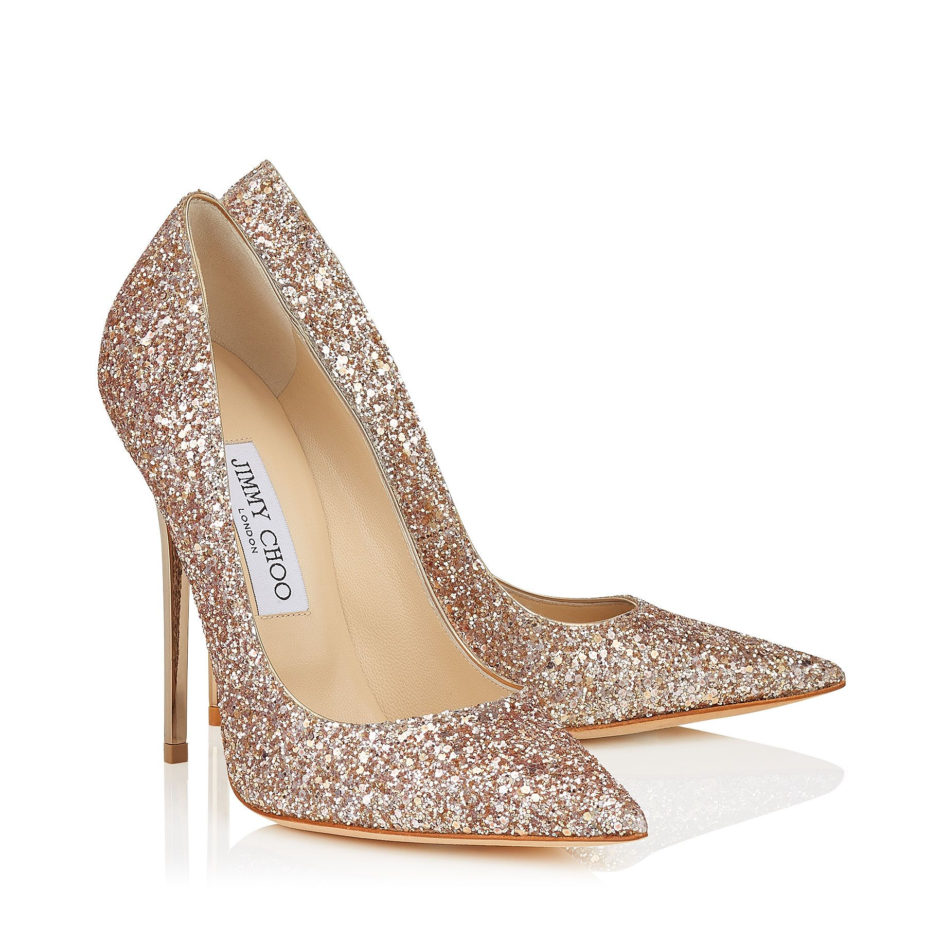 Silver high heels with diamonds