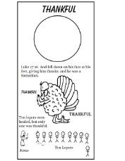 Sunday School lesson and printables for Thanksgiving