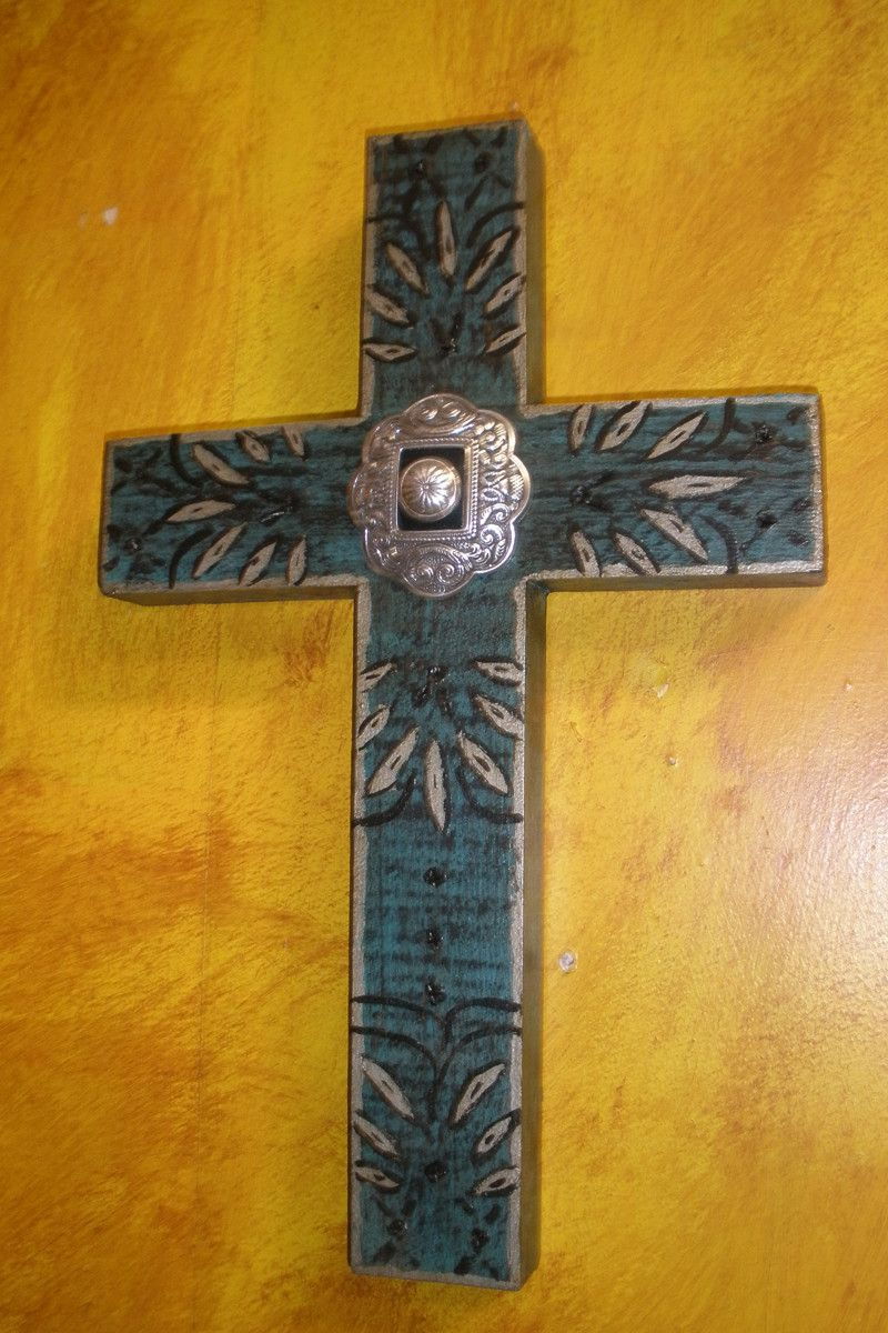 Silver Dreams Concho Wood Cross | Wood crosses, Woods and Woodworking