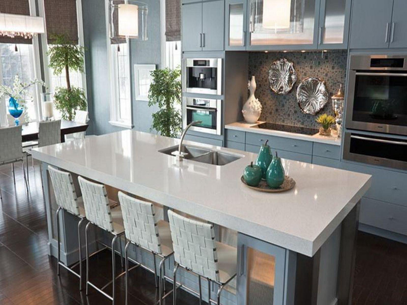 white sparkle quartz countertops kitchen decor theme ideas