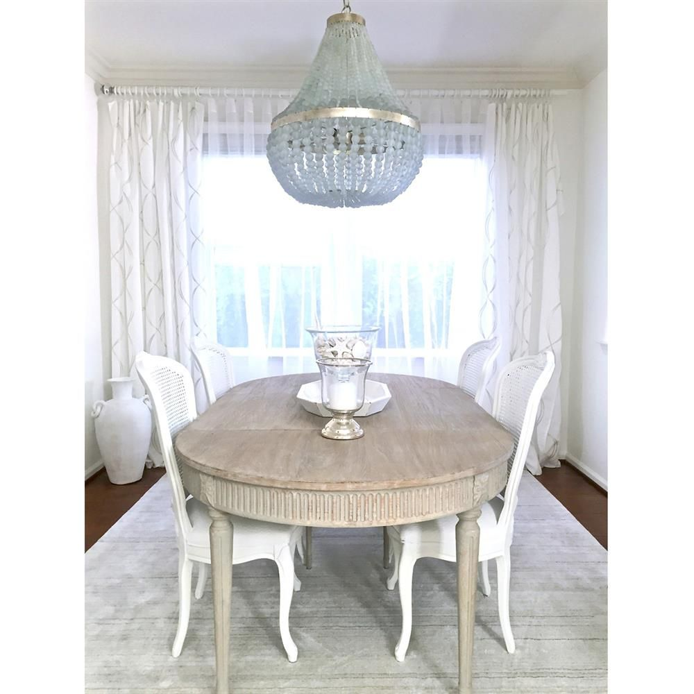 French oval dining table - Floren French Country White Wash Oak Extendable Breakfast Oval Dining Table