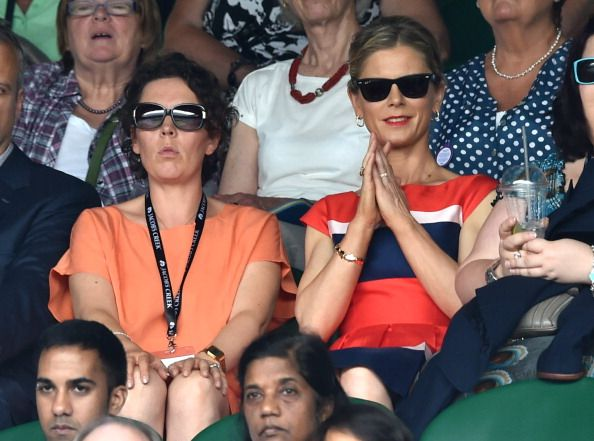 Things start to get tense - LONDON, ENGLAND - JULY 01: Olivia Colman and Emilia Fox attend the Angelique Kerber v Maria Sharapova match on centre court during day eight of the Wimbledon Championships at Wimbledon on July 1, 2014 in London, England. (Photo by Karwai Tang/WireImage)