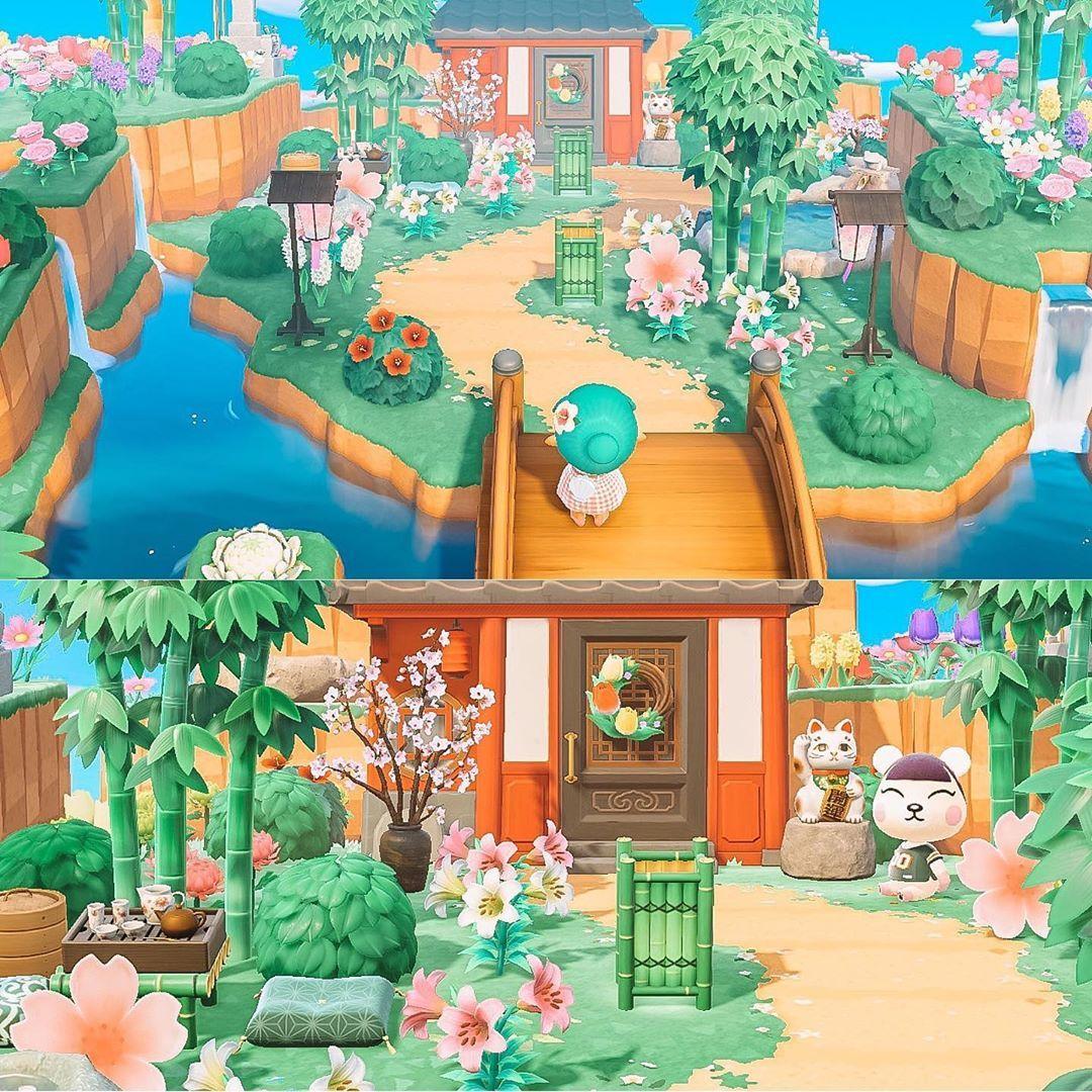 Laura On Instagram I Ve Made Pekoe Her Own Big Garden On Each Of My Islands Here She Is In Her New Bamboo Cherr In 2021 Animal Crossing Big Garden Blossom Garden