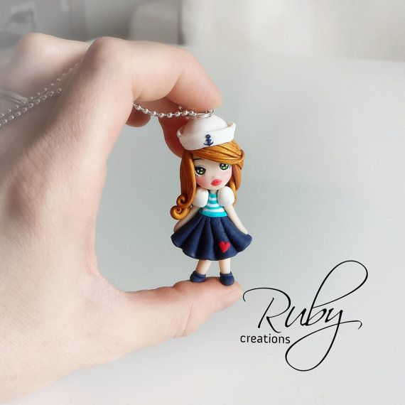Unique one of a kind sailor doll necklace | Polymer gals ...