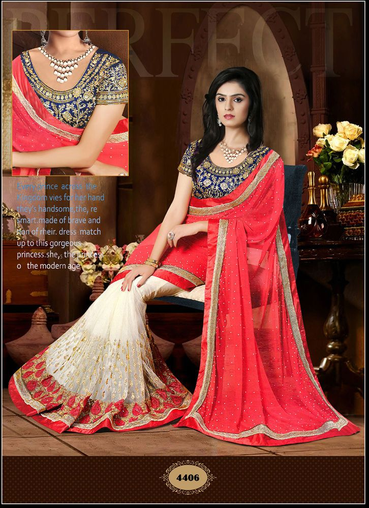 be9a81562 Leela Fashion multicolor designer Georgette-sarees with blouse piece ...