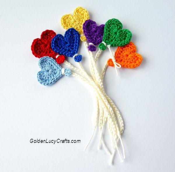 Crochet Balloon Applique, Heart Balloon, Free Crochet Pattern ...