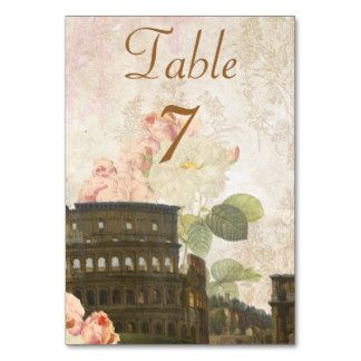 Ancient Rome Pink Roses Table Number Card Table Card
