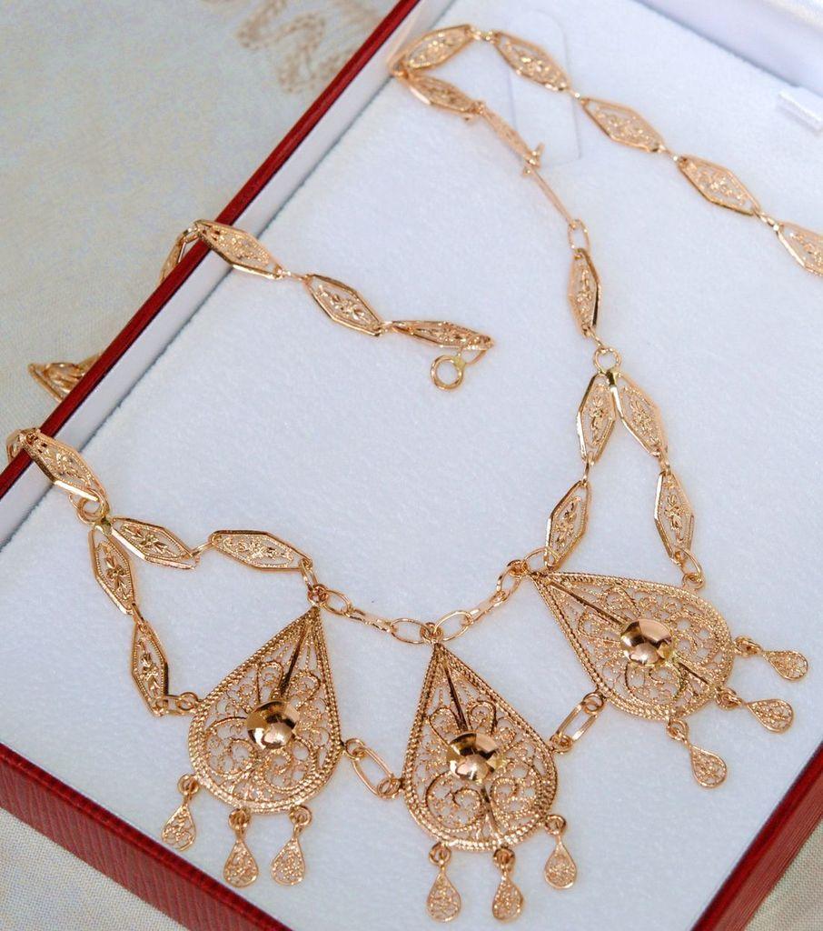 style à la mode meilleure vente Promotion de ventes RARE COLLIER ORIENTAL MESKIA MAILLE FILIGRANEE OR ROSE 18 K ...