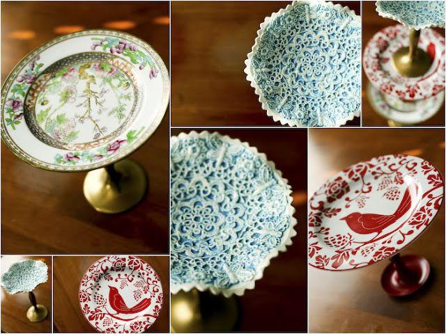 gorilla glue, plate and candlestick = DIY dessert stand!