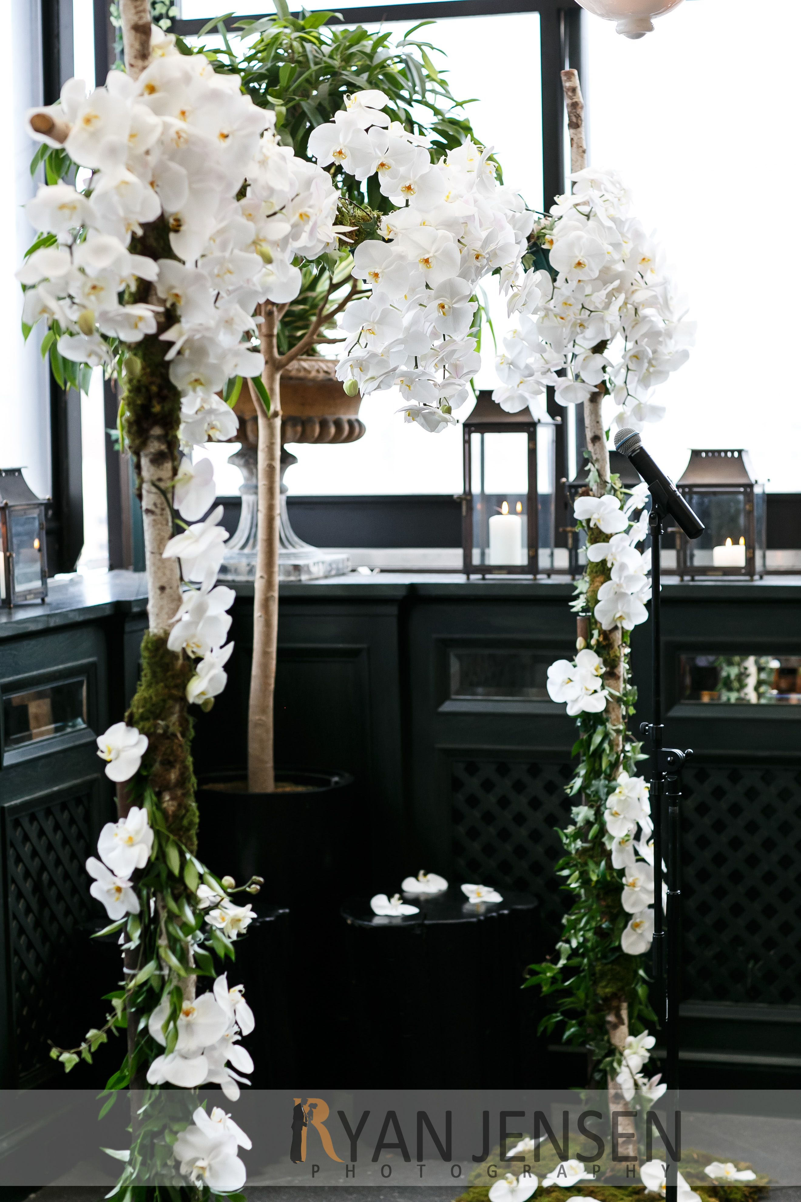 Wedding Flower Arch Made Of Cascading White Orchids By Bella
