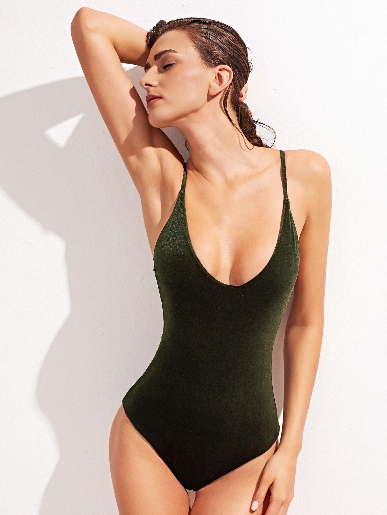 maillots de bain d 39 une seule pi ce velours crois au dos vert fonc french shein sheinside. Black Bedroom Furniture Sets. Home Design Ideas