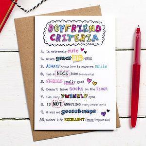 Boyfriend Criteria Valentines Card